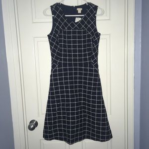 J. Crew Factory navy blue/white checkered dress